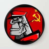 russia Wall Clocks featuring For Russia by Dangerous Monkey