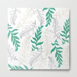 Botanical hand drawn leaves gold black green foliage Metal Print