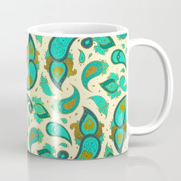 Aquamarine and gold Paisley pattern Coffee Mug