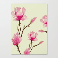 craftberrybush Canvas Prints featuring Pink Magnolia  by craftberrybush