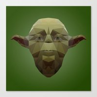 low poly Canvas Prints featuring Yoda Low Poly by organicdreams