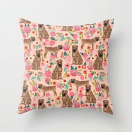 Sharpei dog breed florals dog pattern for dog lover by pet friendly sharpeis Throw Pillow