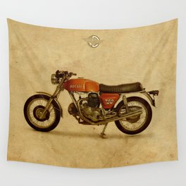 Vintage old motorcycle 750GT 1971 vintage background Wall Tapestry