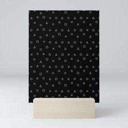 black gaming pattern - gamer design - playstation controller symbols Mini Art Print