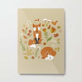 Foxes with Fall Foliage Metal Print