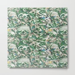 Sloth Camo Watercolor Metal Print