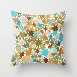 Abstract Starburst Mosaic // Turquoise, Caribbean Blue, Green, Brown // Digital Paint Splotches // V2 Throw Pillow