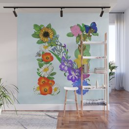 Letter N is for never enough flowers Wall Mural