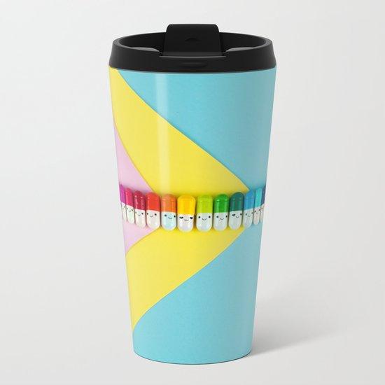 Happy little rainbow pills Metal Travel Mug