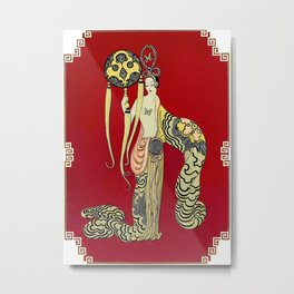 "Art Deco Design ""Asia Princess"" by Erté Metal Print"