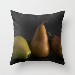Still LIfe of Fresh Pears on a Dark Surface Throw Pillow