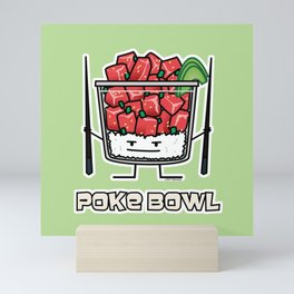 Poke bowl Hawaii raw fish salad chopsticks aku Mini Art Print