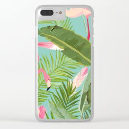 Flamingo Jungle Clear iPhone Case