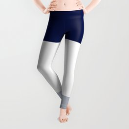 BEACH THEME TRIPLE THICK STRIPES -  LIGHT GREY WHITE AND NAVY BLUE  Leggings