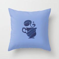 Herbal Tea, Blue on Blue Throw Pillow