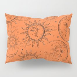 Orange Magic Celestial Sun Moon Stars Pillow Sham