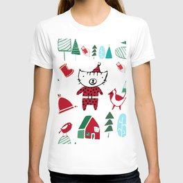 Cute christmas cat white T-shirt