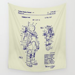 1973 NASA Apollo Astronaut Space Suit Patent Wall Tapestry
