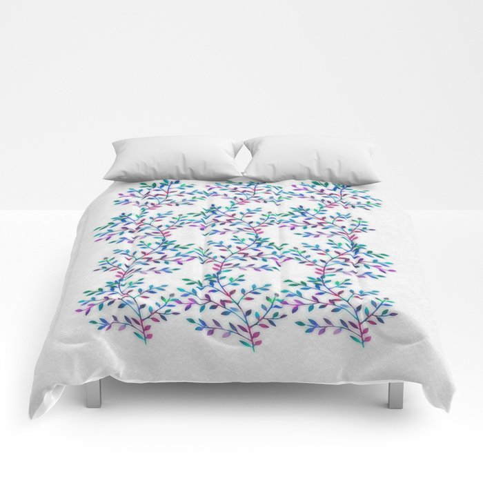Small, Colorful Leaves 2 Comforters