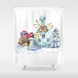 Magic pitcher house with a flashlight and gifts Shower Curtain