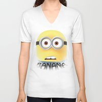 minion V-neck T-shirts featuring Minion by ellyonart