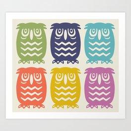 Mid Century Owl Pattern Multi-Color Art Print