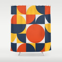 Mid century circles coming together Shower Curtain