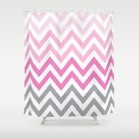 tina crespo Shower Curtains featuring TINA CHEVRON 5 by JUNE blossom