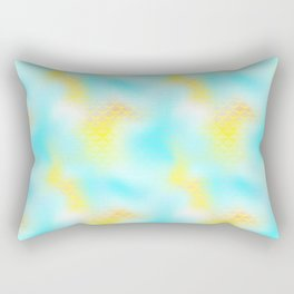 Cyan Blue and Yellow Mermaid Tail Abstraction. Magic Fish Scale Pattern Rectangular Pillow