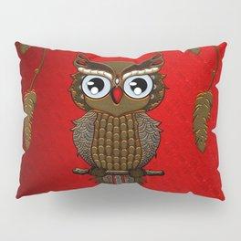 Wonderful steampunk owl on red background Pillow Sham