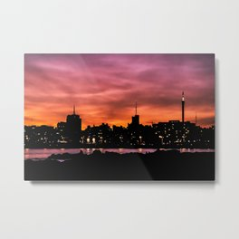 Cityscape Sunset Scene, Montevideo, Uruguay Metal Print