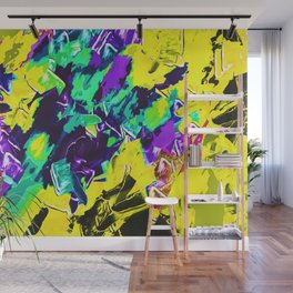 yellow green pink purple painting texture background Wall Mural