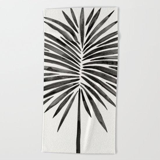 Tropical Fan Palm – Black Beach Towel