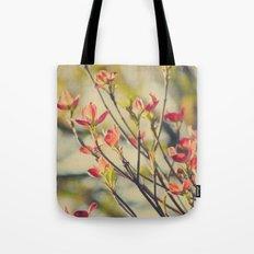 Vintage Red Dogwood Tree Flowers in Spring Warm Sunny Botanical Tote Bag