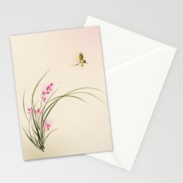 Oriental style painting - orchid flowers and butterfly 004 Stationery Cards