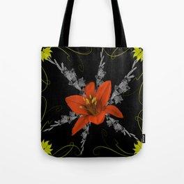 Lily and Gladiolas abstract Tote Bag