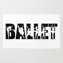 Ballet in Black with Ballerina Cutouts Rug