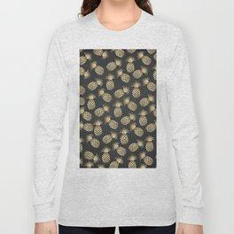 Modern chalk black elegant faux gold pineapple pattern Long Sleeve T-shirt