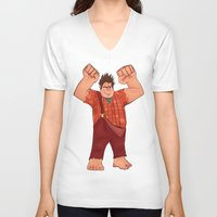 wreck it ralph V-neck T-shirts featuring I'm Gonna Wreck It! by shaunaoconnor