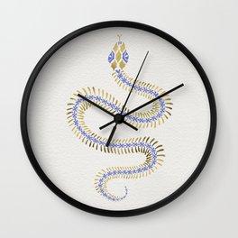 Snake Skeleton – Periwinkle & Gold Wall Clock