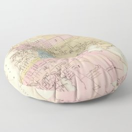 Vintage Map of Fall River MA (1878) Spindle City Floor Pillow