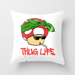 "A Cool Thug Life Tee For Gangster ""Mushroom Thug Life"" T-shirt Design Scarf Smoking Cigarette Smoke Throw Pillow"