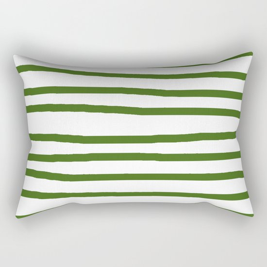 Simply Drawn Stripes in Jungle Green Rectangular Pillow