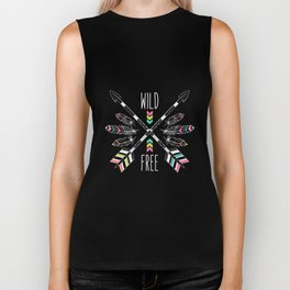 "Ethnic frame made of feathers, threads and beads with text ""Wild and Free"". Freedom concept. Biker Tank"
