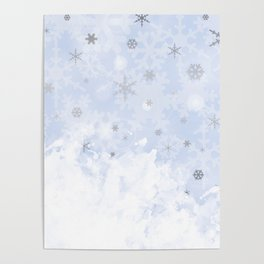 Silver snowflakes on blue Poster