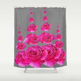 DECORATIVE SURREAL FUCHSIA PINK ROSES  COLUMNS Shower Curtain