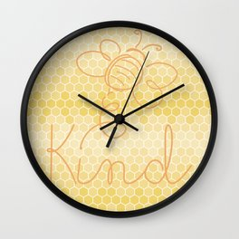 "Honey ""Bee"" Kind - Be Kind Honeycomb Circle Wall Clock"