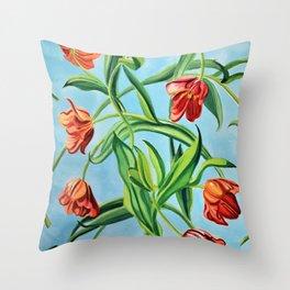 Happy Tulips Throw Pillow