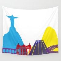rio de janeiro Wall Tapestries featuring Rio de Janeiro skyline pop by Paulrommer