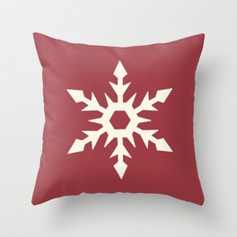 Snowflake Square - Red Throw Pillow